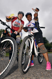 Natalie du Toit and Noeleen Maholwana-Sangqu training for Cape Argus Pick n Pay Cycle Tour. I Play Fair would like to thank Tuffy Brands SA and Cycle Lab for sponsoring Noeleen's bicycle for the Cape Argus Cycle Tour.